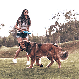 kobieta bawiąca się z psem